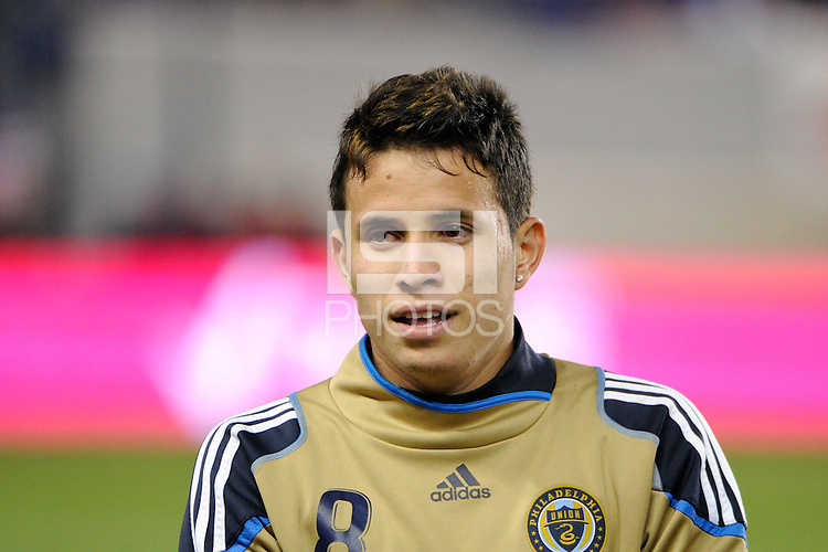 Roger Torres (8) of the Philadelphia Union. The New York Red Bulls defeated the Philadelphia Union  1-0 during a Major League Soccer (MLS) match at Red Bull Arena in Harrison, NJ, on October 20, 2011.