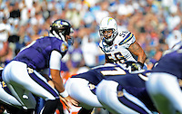 Sep. 20, 2009; San Diego, CA, USA; San Diego Chargers linebacker (56) Shawne Merriman against the Baltimore Ravens at Qualcomm Stadium in San Diego. Baltimore defeated San Diego 31-26. Mandatory Credit: Mark J. Rebilas-