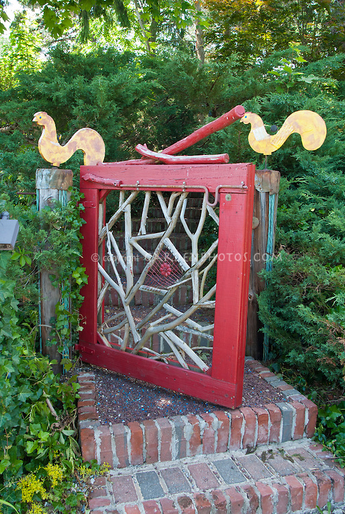 homemade garden ornaments artwork garden gate plant flower stock photography