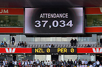 The attendance of 37,034 is flashed on the big screen during the 2018 FIFA World Cup Russia first-leg playoff football match between the NZ All Whites and Peru at Westpac Stadium in Wellington, New Zealand on Saturday, 11 November 2017. Photo: Dave Lintott / lintottphoto.co.nz