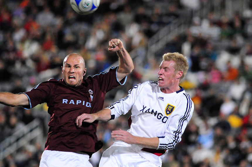 25 October 08: Rapids forward Conor Casey (left) and Real Salt Lake defender Nat Borchers fight for control of a loose ball. Real Salt Lake tied the Colorado Rapids at Dick's Sporting Goods Park in Commerce City, Colorado. The tie advanced Real Salt Lake to the playoffs.