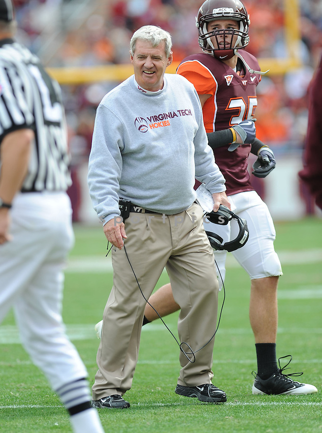 FRANK BEAMER, of the Virginia Tech Hokies in action during the Hokeys  game against the Boston College Eagles on October 10, 2009 in Blacksburg, VA. Virginia Tech won 48-14..