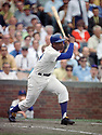 CIRCA 1970's:  Ernie Banks #14 of the Chicago Cubs at bat during a game from his career with the Chicago Cubs.  Ernie Banks played all of his 18 seasons with the Chicago Cubs, was an 11-time All-Star, National League MVP in 1958, 1959 and was inducted to the Baseball Hall of Fame in 1977.(Photo by: 1970  SportPics  )  Ernie Banks