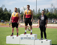 At right, Jesse Nikora '21 3rd place, hammer throw<br /> The Occidental College men's and women's track and field teams compete in the 2019 Southern California Intercollegiate Athletic Conference (SCIAC) Track and Field Championships at the Claremont-Mudd-Scripps Burns Track Complex in Claremont, Calif. on Saturday, April 27, 2019.<br /> After the two-day SCIAC Championships CMS scored 211.50 points, followed by Pomona-Pitzer (171.50), Redlands (114), Occidental (92.50), Whittier (57.50), La Verne (54), Cal Lutheran (48), Chapman (23) and Caltech (4). <br /> <br /> (Photo by Eddie Ruvalcaba, Image of Sport)