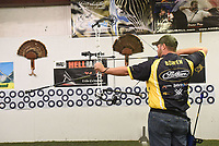 NWA Democrat-Gazette/FLIP PUTTHOFF <br /> The target bow Bowen shoots is elaborate, with a high-quality scope and two stabilizers. It's heavier than a hunting bow, Bowen said.