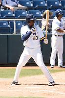 Everett AquaSox outfielder Jarrett Burgess #40 at bat during a game against the Eugene Emeralds at Everett Memorial Stadium on June 26, 2011 in Everett, WA.  Eugene defeated Everett 14-4.  (Ronnie Allen/Four Seam Images)