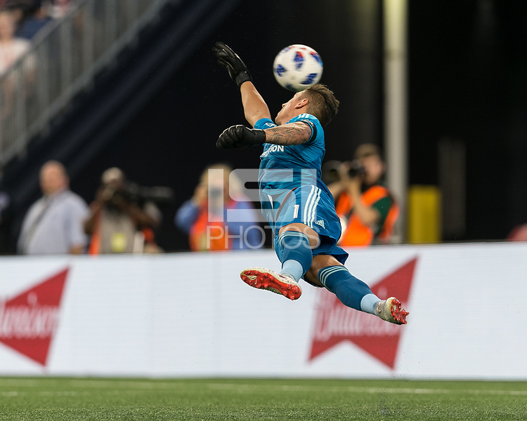 Foxborough, Massachusetts - July 14, 2018: First half action. In a Major League Soccer (MLS) match, New England Revolution (blue/white) vs Los Angeles Galaxy (white), at Gillette Stadium.<br /> Save.