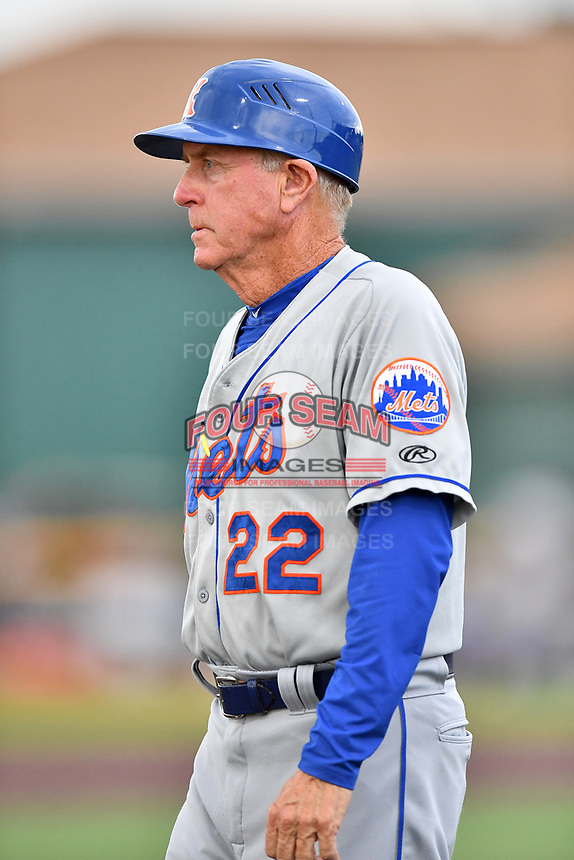 Kingsport Mets manager Rich Donnelly (22) during a game against the Johnson City Cardinals at TVA Credit Union Ballpark on June 28, 2019 in Johnson City, Tennessee. The Cardinals defeated the Mets 7-4. (Tony Farlow/Four Seam Images)