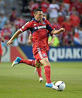Chicago defender Dan Gargan (3) controls the ball.  The Chicago Fire defeated the Columbus Crew 2-1 at Toyota Park in Bridgeview, IL on June 23, 2012.
