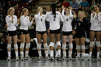 15 December 2007: Stanford Cardinal Joanna Evans (3), Bryn Kehoe (4), Alex Fisher (5), Janet Okogbaa (2), Cassidy Lichtman (8), Gabi Ailes (9), and Alix Klineman (10) during Stanford's 25-30, 26-30, 30-23, 30-19, 8-15 loss against the Penn State Nittany Lions in the 2007 NCAA Division I Women's Volleyball Final Four championship match at ARCO Arena in Sacramento, CA.