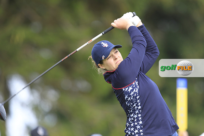 Ally McDonald (USA) on the 2nd tee during Day 3 Singles at the Solheim Cup 2019, Gleneagles Golf CLub, Auchterarder, Perthshire, Scotland. 15/09/2019.<br /> Picture Thos Caffrey / Golffile.ie<br /> <br /> All photo usage must carry mandatory copyright credit (© Golffile | Thos Caffrey)