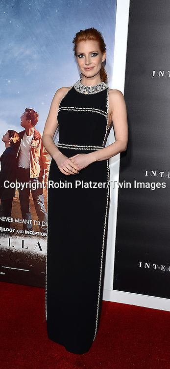 Jessica Chastain attends the New York Premiere of &quot;Interstellar&quot; on November 3 ,2014 at AMC Lincoln Square IMAX Theatre in New York City<br /> <br /> photo by Robin Platzer/Twin Images<br />  <br /> phone number 212-935-0770