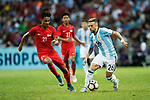 Alejandro Gomez of Argentina (R) in action against Safuwan Baharudin of Singapure (L) during the International Test match between Argentina and Singapore at National Stadium on June 13, 2017 in Singapore. Photo by Marcio Rodrigo Machado / Power Sport Images
