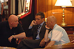 Aldershot Town 0 Torquay United 3, 15/08/2007. Football Conference. Torquay's first game in the Blue Square Premier. A 330 mile round trip to Aldershot Town's Recreation Ground. Paul Buckle and John Milton discuss team tactics in the team hotel 4 hours before kick off.