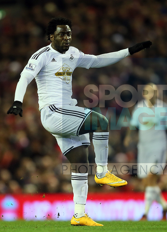 Wilfried Bony of Swansea City - Barclays Premier League - Liverpool vs Swansea City - Anfield Stadium - Liverpool - England - 29th December 2014  - Picture Simon Bellis/Sportimage