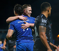 1st November 2019; RDS Arena, Dublin, Leinster, Ireland; Guinness Pro 14 Rugby, Leinster versus Dragons; James Lowe of Leinster celebrates scoring a try with team mate - Editorial Use