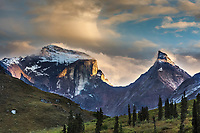Sunset on Xanadu and Arial mountain, Arrigetch Peaks, Gates of the Arctic National Park, Alaska.