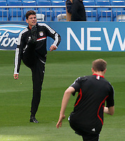24.04.2012 SPAIN -  UEFA Champions League trining Bayern Munchen at Bernabeu stadium. The picture show Mario Gomez