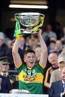 Kerry minor captain Liam Kearney from Spa, Killarney celebrates his team's victory over Donegal in the All-Ireland Football Final  in Croke Park 2014.<br /> Photo: Don MacMonagle<br /> <br /> <br /> Photo: Don MacMonagle <br /> e: info@macmonagle.com