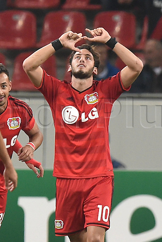 27.08.2014. Leverkusen, Germany. UEFA Champions League qualification match. Bayer Leverkusen versus FC Copenhagen. Goal scored for 2:0 by Hakan Calhanoglu ( Leverkusen )