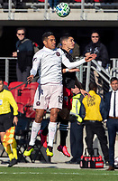 WASHINGTON, DC - MARCH 07: Joseph Mora #28 of DC United and Victor Ulloa #13 of Inter Miami go up for a header during a game between Inter Miami CF and D.C. United at Audi Field on March 07, 2020 in Washington, DC.