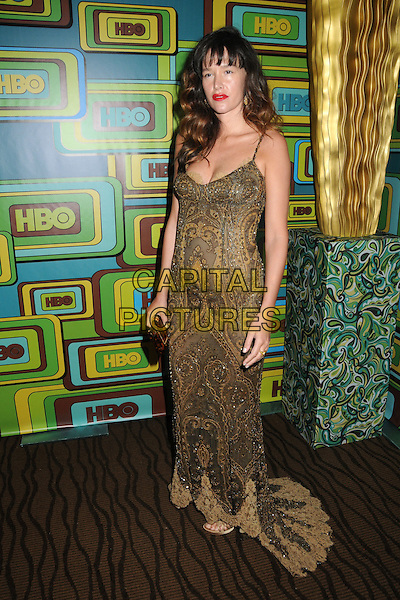 PAZ DE LA HUERTA.HBO 2011 Post Golden Globe Awards Party held at The Beverly Hilton Hotel, Beverly Hills, California, USA..January 16th, 2011.full length dress gold brown print lace clutch bag  maxi.CAP/ADM/BP.©Byron Purvis/AdMedia/Capital Pictures.