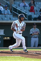 Jason Martin (2) of the Lancaster JetHawks bats against the Inland Empire 66ers at The Hanger on September 3, 2016 in Lancaster, California. Lancaster defeated Inland Empire, 7-6. (Larry Goren/Four Seam Images)