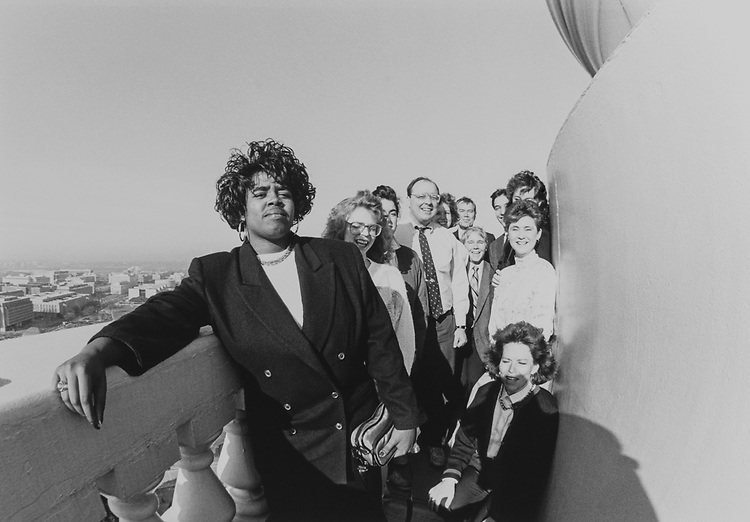 Rep. Craig L. Thomas, R-Wyo., and some of his staff atop the Capitol Hill dome overlooking Washington, D.C., on Feb. 1, 1990. (Photo by Maureen Keating/CQ Roll Call via Getty Images)