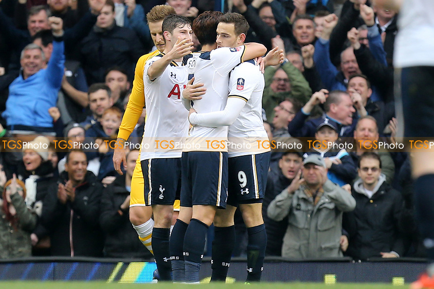 Vincent Janssen of Tottenham Hotspur is congratulated after scoring the fifth goal during Tottenham Hotspur vs Millwall, Emirates FA Cup Football at White Hart Lane on 12th March 2017
