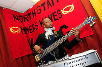 30th. Anniversary of the Miners' Strike<br /> End of Strike Social<br /> Florence Sports and Social Club<br /> Stoke on Trent<br /> Part of a season of events commemorating the 30th anniversary of the miners' strike of 1984 - 1985.<br /> Carlton Powell, bass player for Banner Theatre