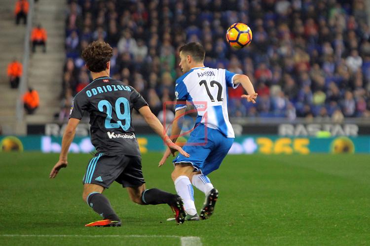 League Santander 2016/2017. Game: 22.<br /> RCD Espanyol vs Real Sociedad: 1-2.<br /> Odriozola vs Aaron.