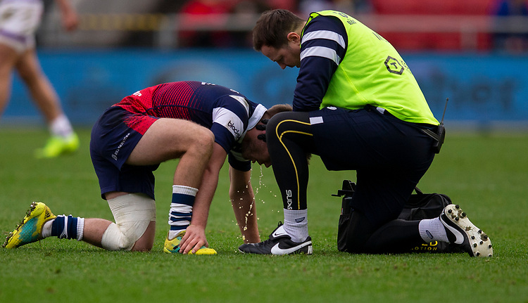 Bristol Bears' Harry Randall receives treatment<br /> <br /> Photographer Bob Bradford/CameraSport<br /> <br /> Gallagher Premiership - Bristol Bears v Leicester Tigers - Saturday 1st December 2018 - Ashton Gate - Bristol<br /> <br /> World Copyright © 2018 CameraSport. All rights reserved. 43 Linden Ave. Countesthorpe. Leicester. England. LE8 5PG - Tel: +44 (0) 116 277 4147 - admin@camerasport.com - www.camerasport.com