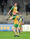Marc Barry and Eoin Fitzgerald of Inagh-Kilnamona celebrate following their Minor A county final win over Kilmaley at Cusack Park. Photograph by John Kelly.