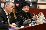 Nevada Sen. James Settelmeyer, R-Minden, and lobbyist Carol Vilardo present a bill in committee to change Nevada's overtime law at the Legislative Building in Carson City, Nev., on Wednesday, March 4, 2015.  <br />