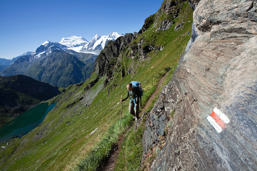 Along stage 6 of the Walker's Haute Route, between Cabane du Mont Fort and Cabane du Prafleuri, Switzerland.