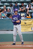 Cam Warner (4) of the TCU Horned Toads bats against the Long Beach State Dirtbags  at Blair Field on March 14, 2017 in Long Beach, California. Long Beach defeated TCU, 7-0. (Larry Goren/Four Seam Images)