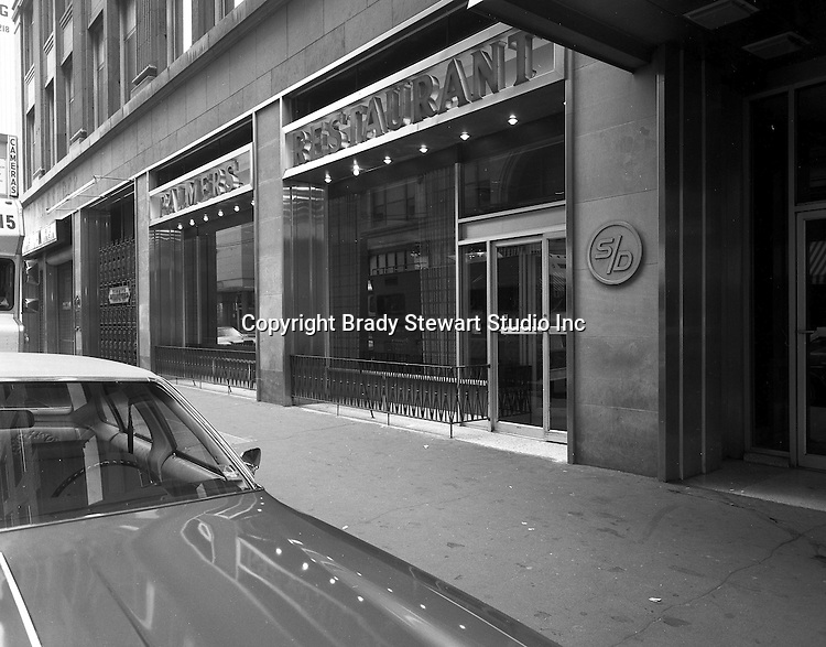 Pittsburgh PA:  Exterior view of Palmer's Restaurant on Smithfield Street - 1970