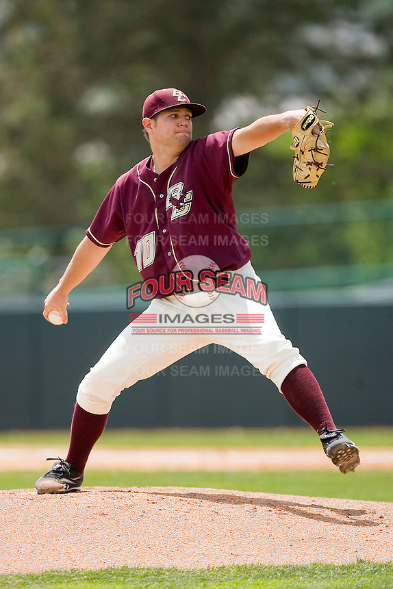 Starting pitcher John Leonard #10 of the Boston College Eagles in action against the Virginia Tech Hokies at English Stadium May 2, 2010, in Blacksburg, Virginia.  Photo by Brian Westerholt / Four Seam Images