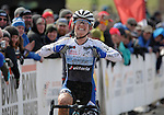January 10, 2016 - Asheville, North Carolina, U.S. -  Women's U23 cyclist, Ellen Noble, celebrates her victory during the USA Cycling Cyclo-Cross National Championships at the historic Biltmore Estate, Asheville, North Carolina.