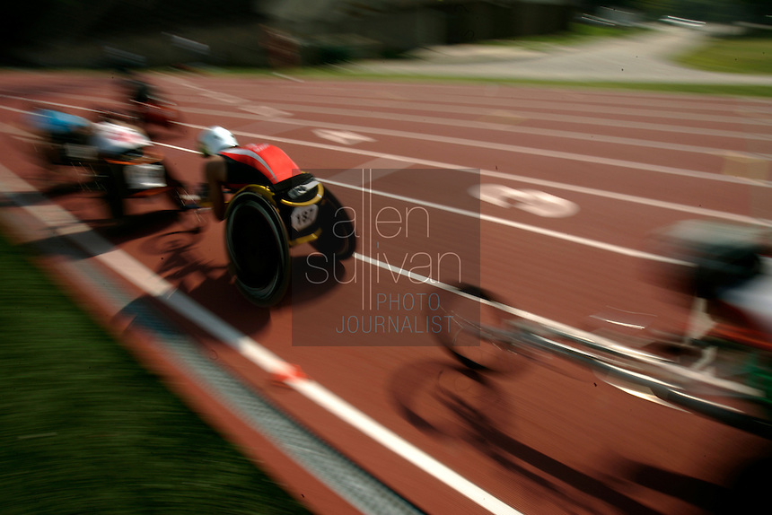 A 10,000-meter run during the U.S. Paralympic Track &amp; Field National Championships at Lakewood Stadium in Atlanta, Ga. on Sunday, July 2, 2006. Over 200 athletes competed in this year's Paralympics.<br />