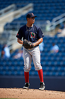 Lowell Spinners starting pitcher Jose Gonzalez (16) gets ready to deliver a pitch during a game against the Staten Island Yankees on August 22, 2018 at Richmond County Bank Ballpark in Staten Island, New York.  Staten Island defeated Lowell 10-4.  (Mike Janes/Four Seam Images)
