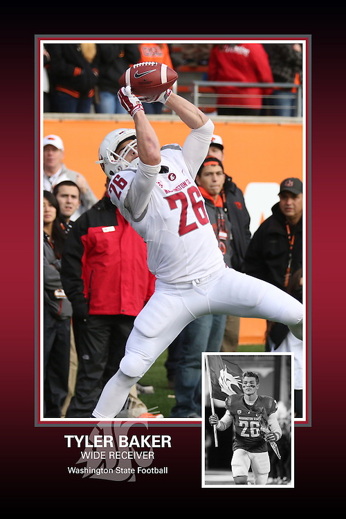 Memorabilia print for Tyler Baker from the 2015 Washington State football season in which the Cougs went 9-4, including a Sun Bowl victory over the Miami Hurricanes.