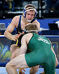 BROOKINGS, SD - FEBRUARY 4:  Alex Kocer from South Dakota State battles with Grant LaMount from Utah Valley during their 149 pound match at Frost Arena Saturday night. (Photo by Dave Eggen/Inertia)