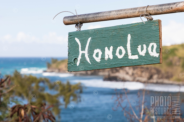 "A ""Honolua"" roadside sign at Honolua Bay, Maui."