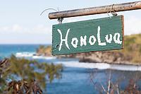 "A ""Honolua"" roadside sign at Honolua Bay, Maui."