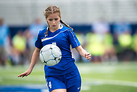 NWA Democrat-Gazette/CHARLIE KAIJO Rogers High School Haley Arrick (4) controls the ball during the semifinals of the 7A Girls State Soccer Tournament, Saturday, May 12, 2018 at Whitey Smith Stadium at Rogers High School in Rogers. Rogers advanced to the finals when midfielder Skylurr Patrick (3) scored both of Rogers' goals defeating Southside High School, 2-1.