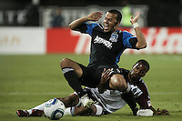 Colorado Rapids midfielder Ross LaBauex (16) collides with San Jose Earthquakes defender Jason Hernandez (21) during the Colorado Rapids 2-1 victory over the San Jose Earthquakes at Buck Shaw Stadium in Santa Clara, California.