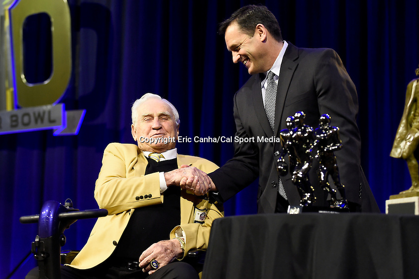 Friday, February 5, 2016: Don Shula (l) presents the Don Shula High School Coach of the Year award to Tuscarora High School coach Michael Burnett at the Moscone Center in San Francisco, California during the National Football League week long opening celebrations for Super Bowl 50 between the Carolina Panthers and the Denver Broncos . Eric Canha/CSM