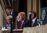 February 7, 2019 - Washington, DC, United States: United States President Donald J. Trump attends the 2019 National Prayer Breakfast at the Washington Hilton Hotel in Washington, DC on Thursday, February 7, 2019. Photo Credit: Chris Kleponis/CNP/AdMedia