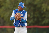 13 July 2010: Luis de La Rosa pitches against Team France during day 1 of the Open de Rouen, an international tournament with Team France, Team Saint Martin, Team All Star Elite, at Stade Pierre Rolland, in Rouen, France.